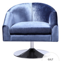 Verlaine Fleur Tub Swivel Chair - Dark Blue/Navy