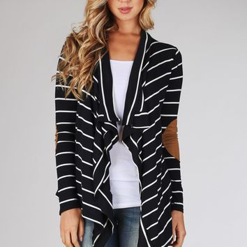 Black White Striped Suede Elbow Patch Cardigan