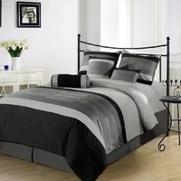 Chezmoi Collection 7-Piece 3-Tone Embroidery Duvet Cover Set, Queen, Black/Gray