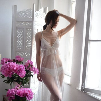 Long Tulle Bridal Nightgown With Lace F13 with Lace Brief(Lingerie Set), Tulle Wedding Nightgown (Honeymoon Sleepwear,Wedding Trousseau)