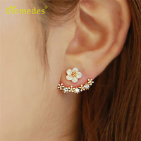 Newly Design  1Pair Women Fashion Flower Rhinestone Ear Stud Earrings Jewelry Gift 160620