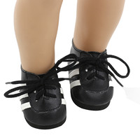 Doll Shoes Fits 18'' American Girl Doll Black Blue Lacing Casual Shoes Doll Accessories xie201 217
