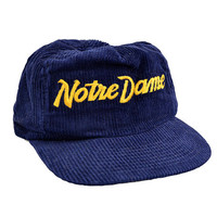 Vintage Notre Dame Fighting Irish Sports Specialties Single Line Script Navy Blue Corduroy Snapback Hat