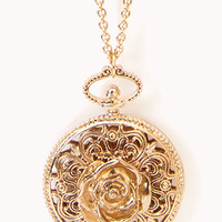 FOREVER 21 Cutout Rose Pendant Necklace Gold One