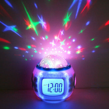 Sky Star Children Baby Room Night Light Projector Lamp Bedroom Music Alarm Clock