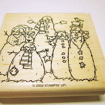 Snowman Stamp, Rubber Stamps, Christmas Stamp, Card Making, Scrapbooking, Rubber Stamp Supplies, Unused, Made By Stampin' Up 2002