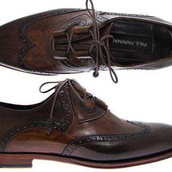 Paul Parkman Men's Wingtip Brogue Dress Shoes Hand-Painted Brown Leather Upper with Leather Sole