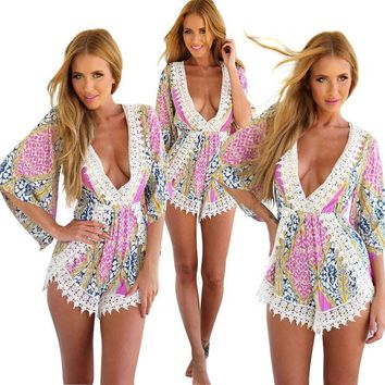 DCCKHQ6 Multi Color Bohemian Printed Lace Romper