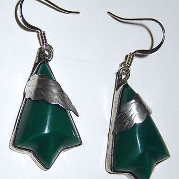 Taxco Mexico Sterling Silver Carved Jade Pierced Earrings DF VGV