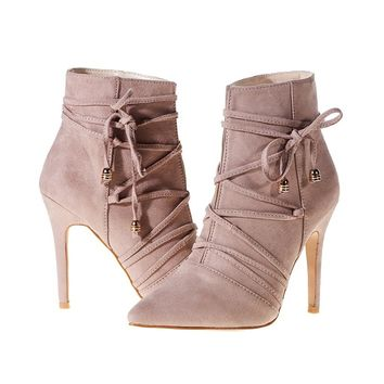 Women's Ankle Boots Stiletto High Heels Lace Up Buckle Shoes Fashion Bandage