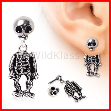 Skeleton Earring Dangle Cartilage Piercing Helix Jewelry Skull Dangle Earring Conch Ring Halloween Body Jewelry