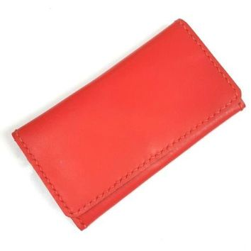 RED WALLET GENUINE SHAMMY LEATHER TRIFOLD PURSE WOMEN CARD COIN ZIPPER HANDBAG