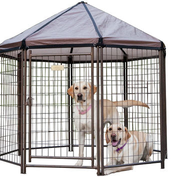 Advantek Pet Gazebo Outdoor Dog Kennel w/Cover