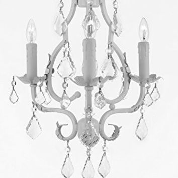 """Wrought Iron Mini Chandelier With Empress Crystal (Tm) Chandelier Lighting 3 Lights 21"""" X 17"""" - Good For Kids' And Girls Bedrooms, Kitchen, Bathroom - G7-White/846/3"""
