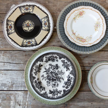 Plate set, 9 pieces, Black, Green, Dinner, Salad and Bread Plate, bone china, Wedgwood, Mikasa
