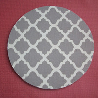 Round Mouse Pad / mousepad / Mat - Trellis in gray