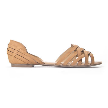 Woven Flat Sandals In Tan