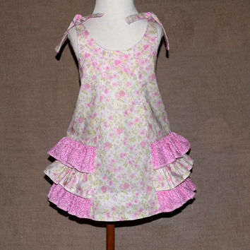 Little girls dress , girls sundress , ruffle dress , pink green , toddler summer dress , ruffle sundress , ties , ready to ship , size 3