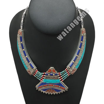 Ethnic Tribal Lapis,Red Coral & Green Turquoise Inlay Statement Necklace, NPL141