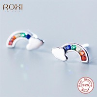ROXI Real 925 Sterling Silver Earrings oorbellen Rainbow CZ Stud Earrings For Women Girl Friend Kids Jewelry boucle d'oreille G2