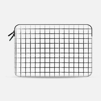 "WHITE GRID Macbook 12"" sleeve by Katie Reed 