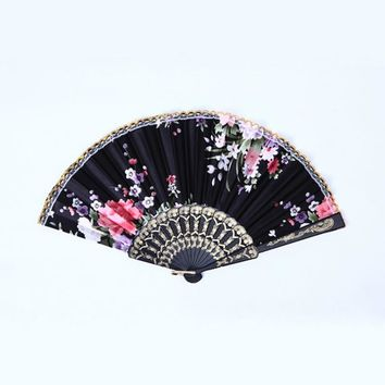 Chinese Bamboo Folding Silk Hand Fan with Flower Wedding Christmas Party Summer