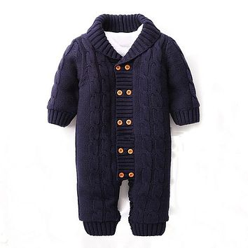 Baby Winter Clothes Cotton Thick Warm Knitted Sweater Infant Jumpsuits Newborn Boy Girl Romper High Quality Baby Wear