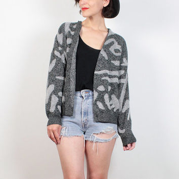 Vintage 80s Sweater Charcoal Gray Abstract Print Boyfriend Sweater Hipster V Neck Jumper 1980s Sweater Boho Grandpa Cardigan Knit M Medium L