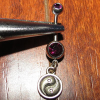 Garnet Belly Ring with Yin Yang Dangle