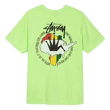 STUSSY Live Clean Pigment Dyed Trending Unisex Summer Loose Map Print Short Sleeve T-Shirt Pullover Top Green I-AA-XDD
