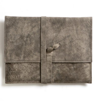 Gray leather iPad Cover, iPad 2 / 3 Case, iPad Sleeve, padded tablet envelope cover, minimalist leather, wrapped closure, documents folder