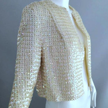 ViNtAgE 50's 60s Sequin jacket Blazer Shawl coat Borealis Cocktail Party Trophy Dress Top Mid Century Jackie O Mad Men Holiday Iridescent