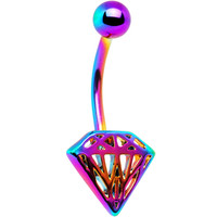 Rainbow Electro Titanium Cut-Out Diamond Belly Ring | Body Candy Body Jewelry