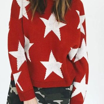 Red Galaxy Print Round Neck Long Sleeve Cute Pullover Sweater