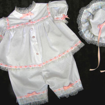 Baby pajamas with nightcap , toddler sleepwear , white cotton , shorty pj ,  photo prop , size 2