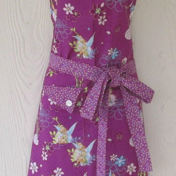 Tinkerbell Full Apron / Disney Fairy Womens Apron / Orchid Purple / Tink & Flowers / Eclectasie