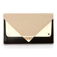 Dessert Storm Taupe and Black Clutch