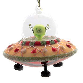 Holiday Ornaments UFO Glass Ornament Spaceship 15166