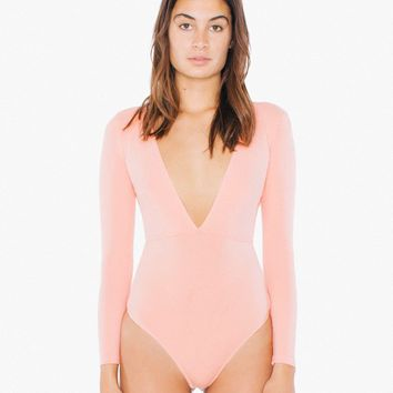 Cotton Spandex Double V Bodysuit | American Apparel