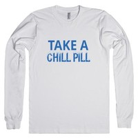 Take A Chill Pill-Unisex White T-Shirt