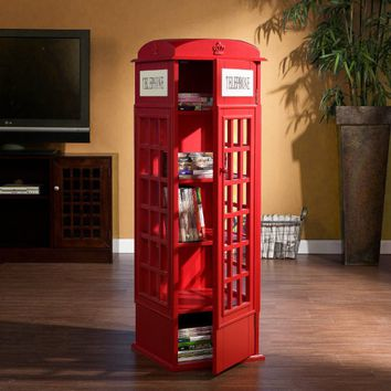 Red Phone Booth Media Cabinet for CDs