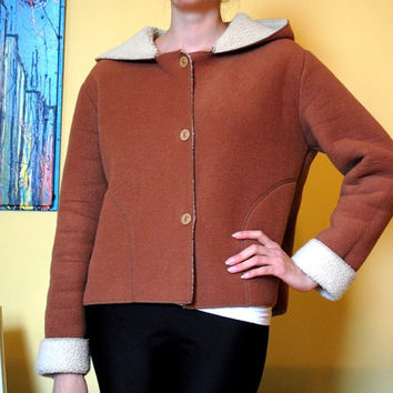 Brown Vintage Jacket 70s Hooded Coat Women XL Super Soft White Interior