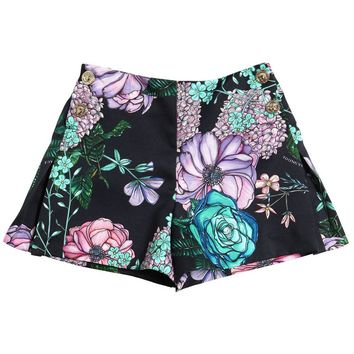 Versace Girls Dark Navy Floral Printed Shorts