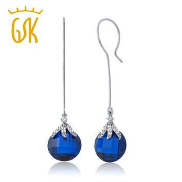 GemStoneKing 22.00 Ctw Simulated Blue Sapphire Bead Dangle Earrings For Women Fashionable 925 Sterling Silver Jewelry