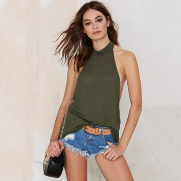 Green Backless Sleeveless Camisole
