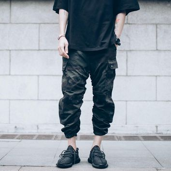 Ruched Ankle  Length Camo Jogger Men Vintage Washed Camouflage Cargo Pants Free Shipping