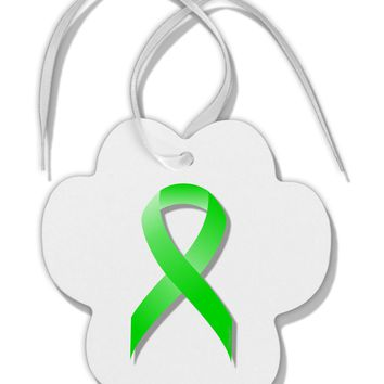 Lyme Disease Awareness Ribbon - Lime Green Paw Print Shaped Ornament