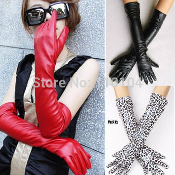 7 Colors The 2016 New Fashion Faux Long Leather Gloves Women's Winter Autumn Warm Outdoors Long Design Gloves Women PU Gloves