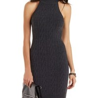 Charcoal Racer Front Sleeveless Sweater Dress by Charlotte Russe
