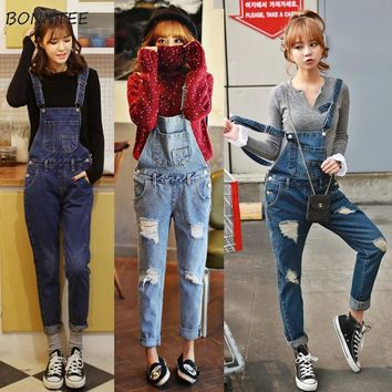 Jumpsuits Women Chic Hole Simple Kawaii Solid Denim Jumpsuit Daily All-match Student Strap Trousers Womens Korean Casual Pockets
